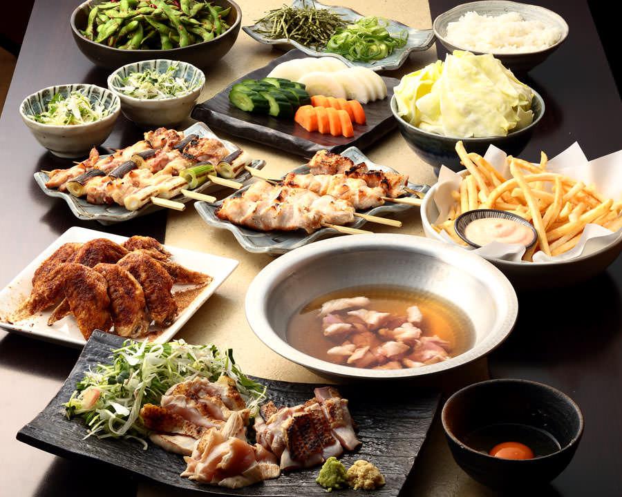 とりいちず 志木南口店の鶏料理を満喫できる〈食べ放題×飲み放題コース〉